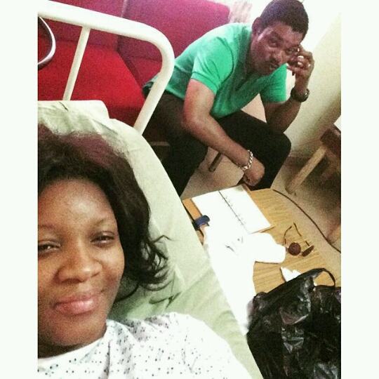 omotola jalade at the hospital