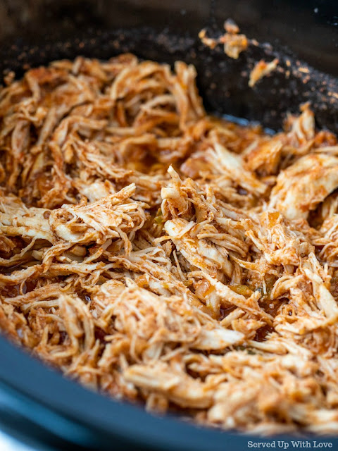 Crock Pot Shredded Chicken Tacos recipe from Served Up With Love