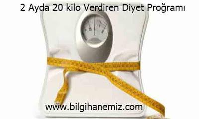 2 Ayda 20 kilo Verdiren Diyet Proğramı
