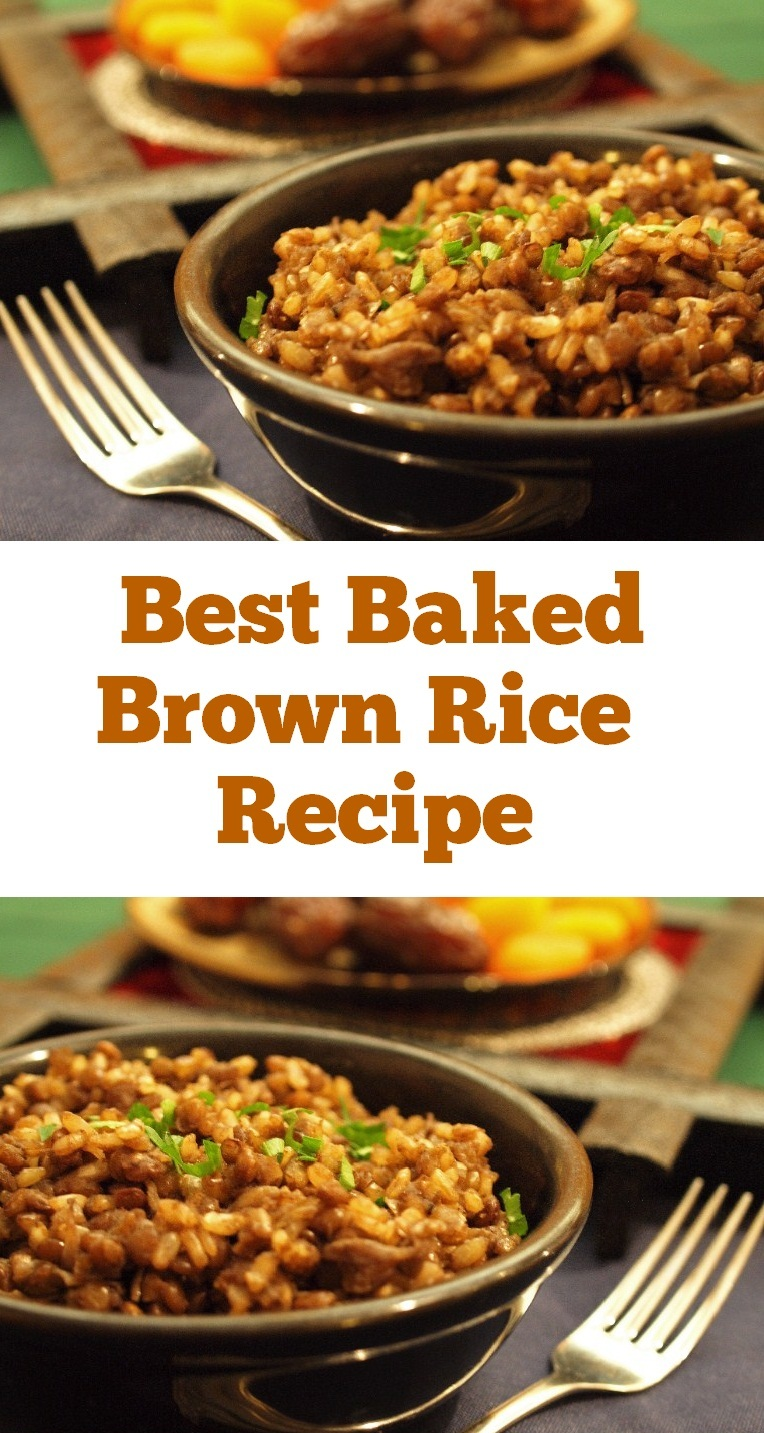 Easy & Delicious Baked Brown Rice. A flavorful dish with just 4 main ingredients. It is perfect to make on a weeknight and enjoy as a side or even as a whole meal. #brownrice #ricerecipe #dinner #maindish #brown #rice #easydinner #meals #weeknightdinner #sidedish #baking
