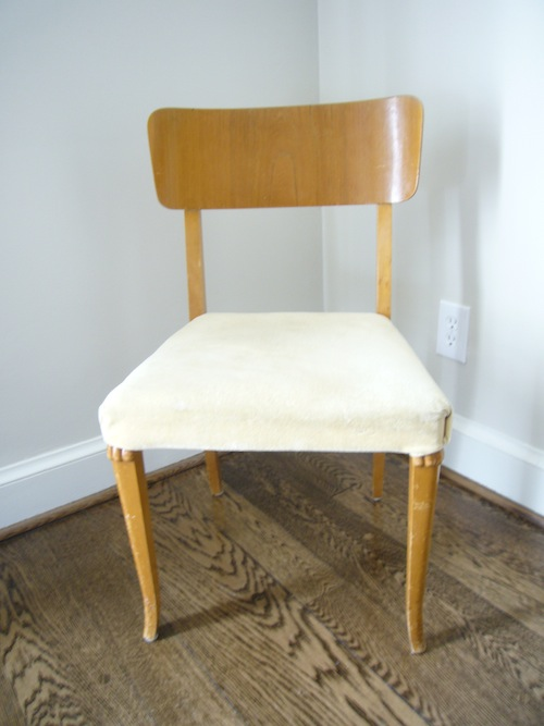 Seat before it's makeover with light colored wood and a plain seat cushion
