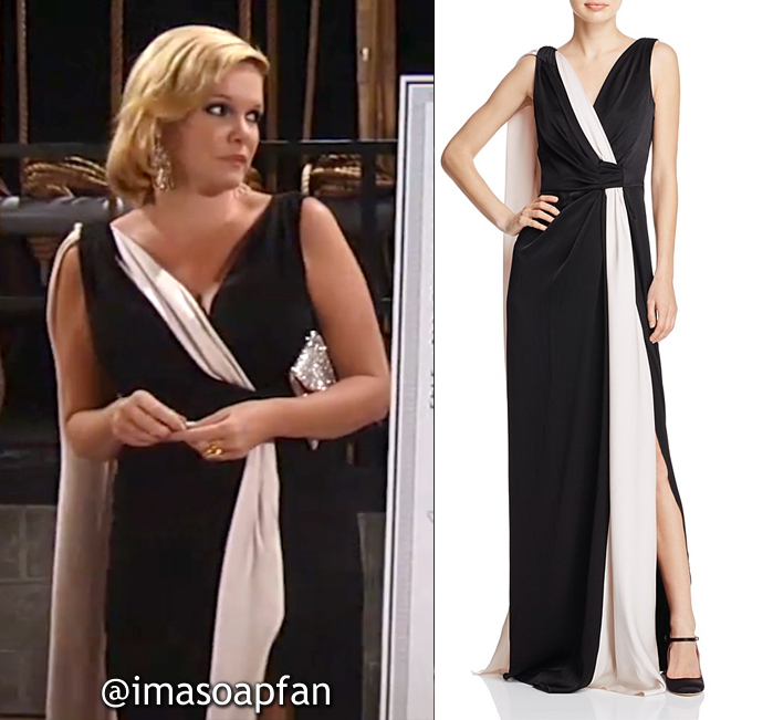 Ava Jerome, Maura West, Draped Black and White Gown, Paule Ka, Nurses Ball, General Hospital, GH