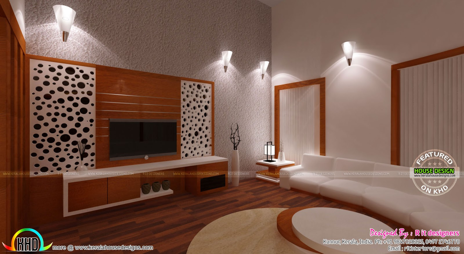Wooden finish interior designs kerala home design and for Living room interior designs kerala