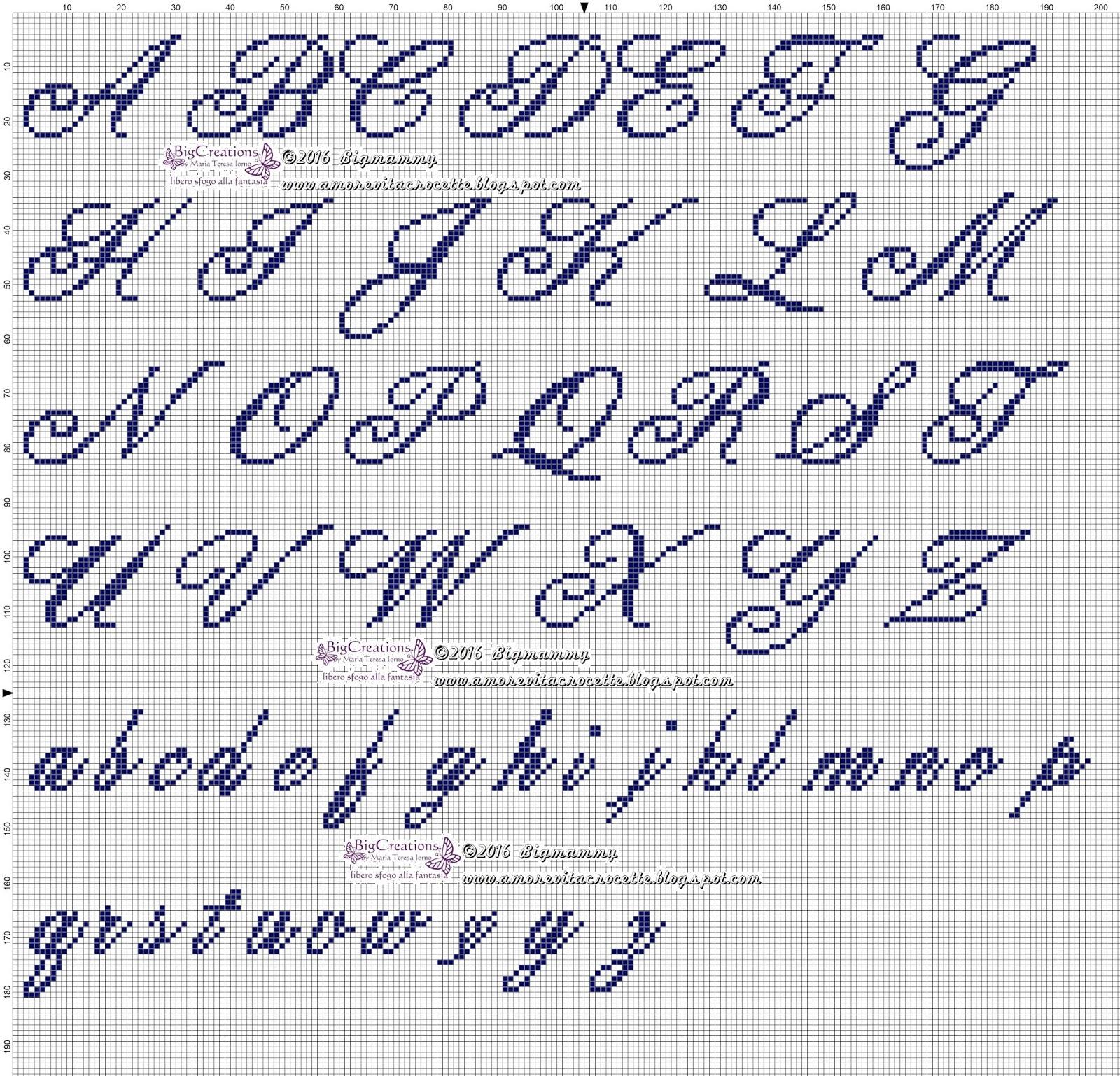 Amorevitacrocette vari alfabeti a punto croce for Ricamo punto croce lettere