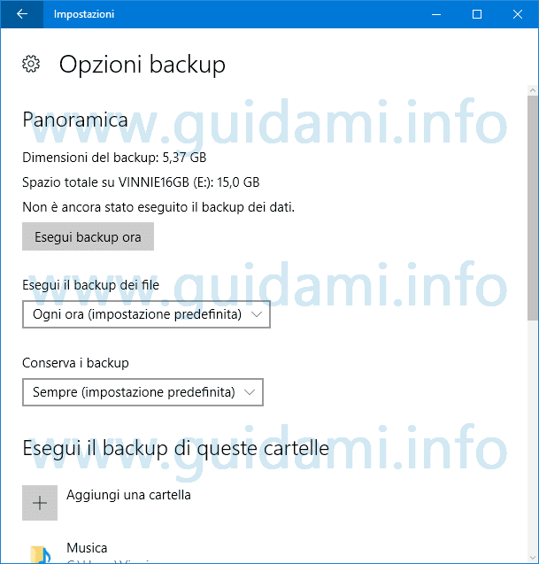 Windows 10 Opzioni Backup