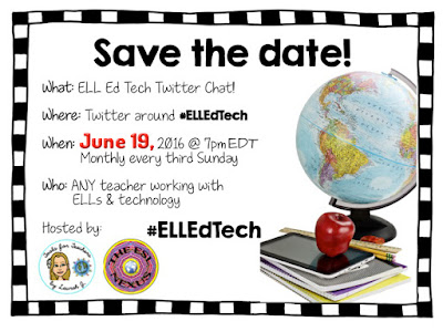 Join the #ELLEdTech Twitter chat on June 19, 2016, and share your favorite tech tools for ELLs