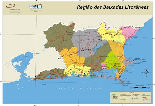 Mapa Região das Baixadas Litorâneas - Rio de Janeiro