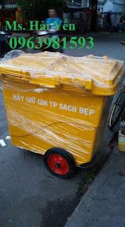 Xe gom rác 660l, thùng rác 660 lít, xe gom rác công nghiệp giá rẻ
