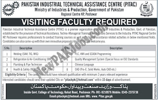 Pakistan Industrial Technical Assistance Centre PITAC Latest New Jobs 2018