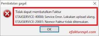 solusi error etaxservice 20001