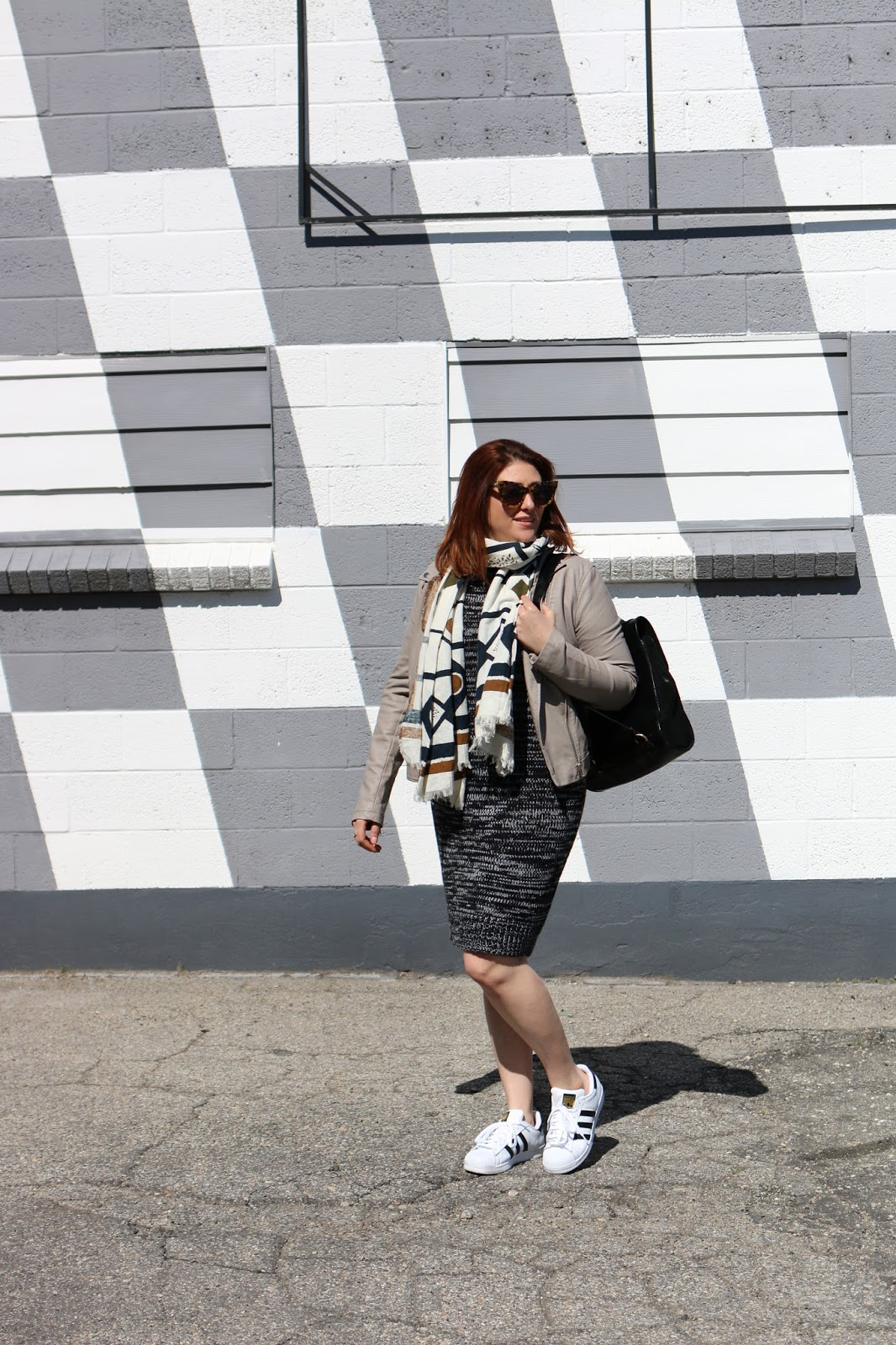 adidas classics, sweater dress, blanket scarf, casual outfit, red hair