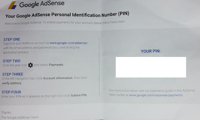 Google AdSense PIN to verify address