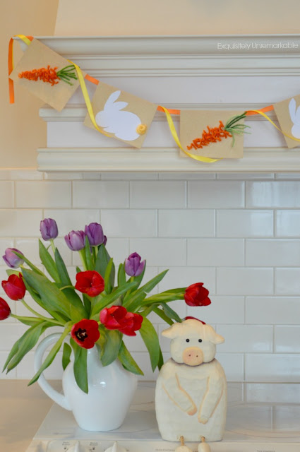 Note Card Bunny Banner hanging over the stove