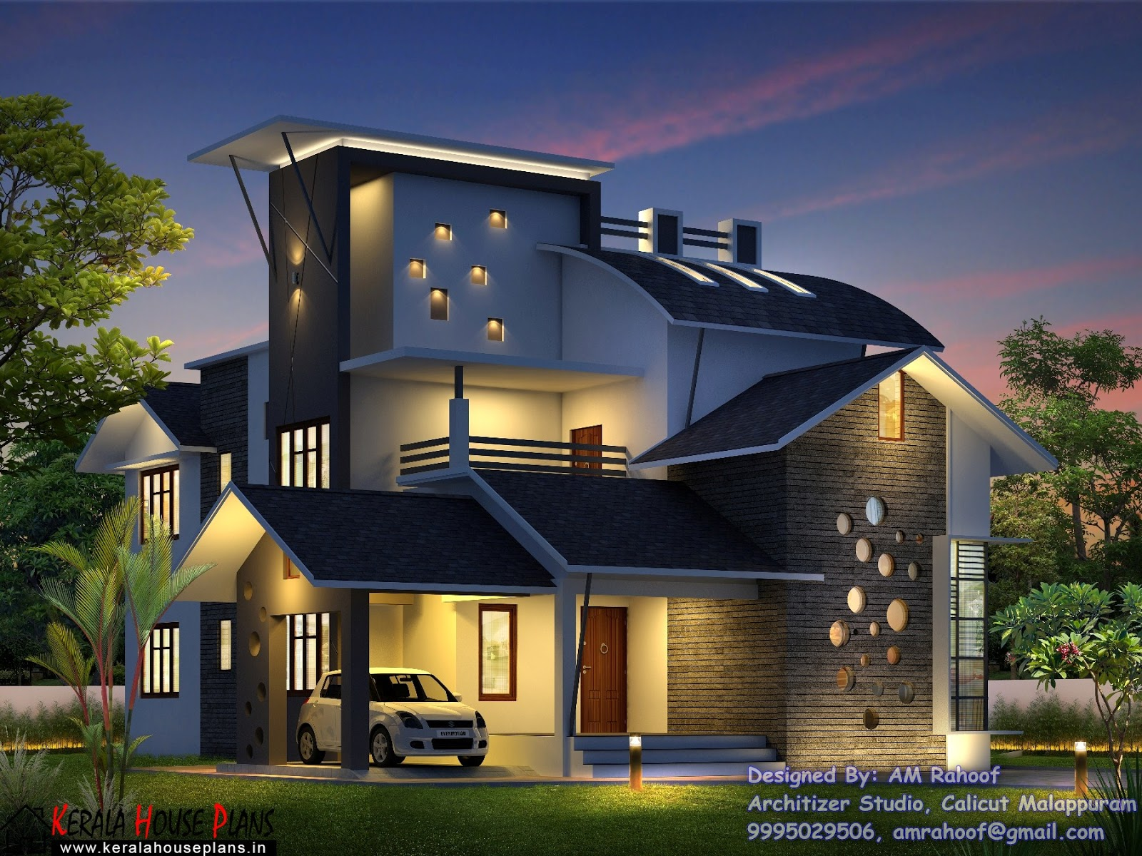 Double Floor Modern Elevation : Kerala contemporary style double floor home design with