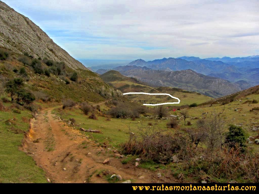 Ruta Montaña Pienzu: Camino para descender por el hayedo de la Biescona