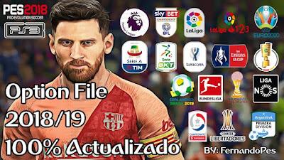 PES 2018 PS3 Option File FernandoPES Ultimate 2019 Season 2018/2019