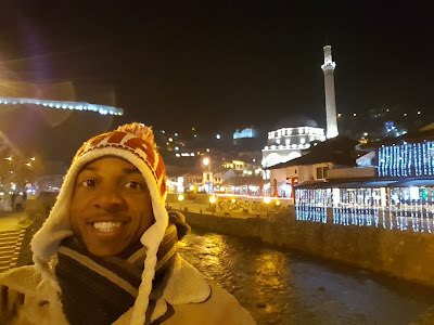 Pretending I'm not cold along the river in Prizren, Kosovo