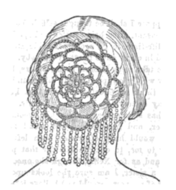 1860 Peterson's hair net of beads and human hair.