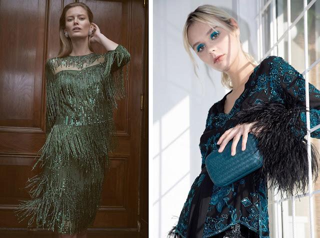 Зеленое платье с бахромой и синее платье с перьями
