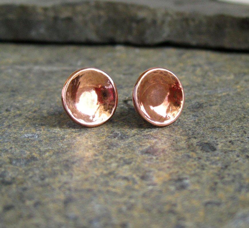 New Stud Earrings - Copper & Sterling Silver