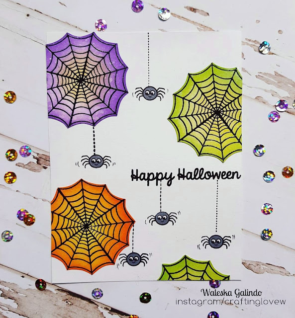 Sunny Studio Stamps: Halloween Cuties Spider Web Card by Waleska