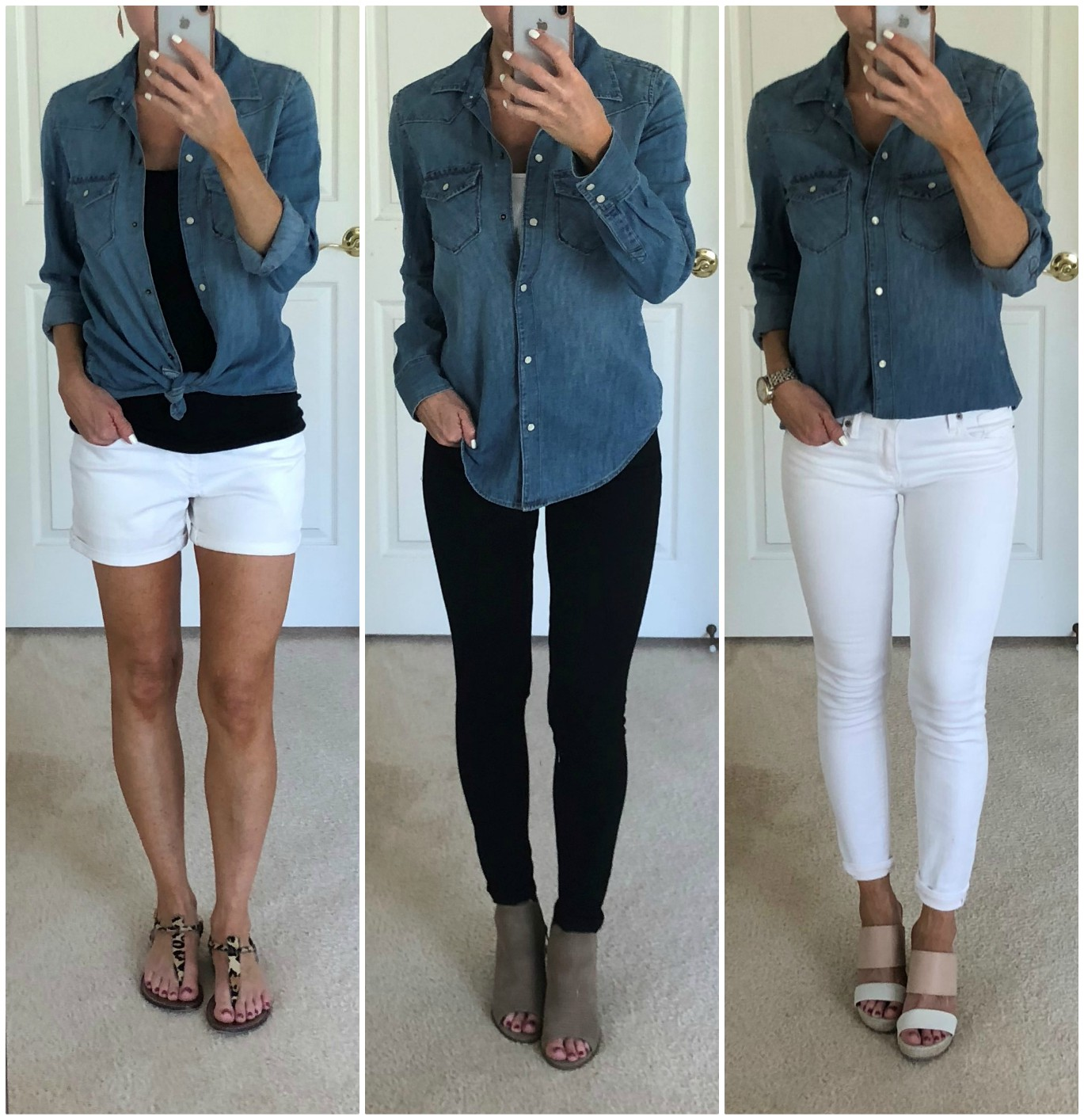 70fce2f4431 Black Jeans And Denim Shirt Outfit