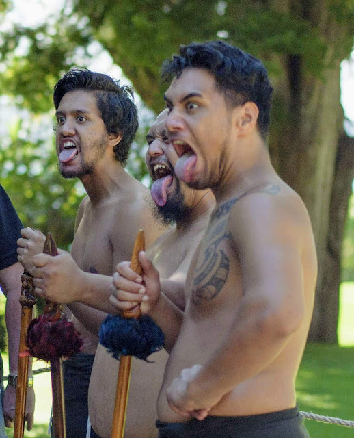 Maori cultural performance at Waitangi Treaty Grounds in Paihia Bay of Islands New Zealand