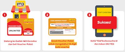 cara isi paket data voucher fisik indosat UNLIMITED Freedom Combo Yellow