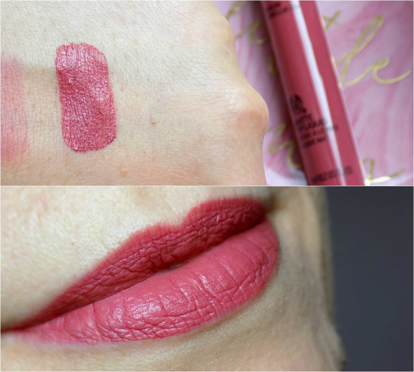 The Body Shop Matte Lip Liquid Lipstick, Nairobi Camellia, swatch