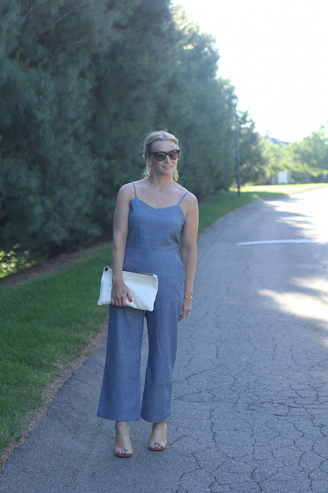 chambray jumpsuit, tory burch wedges