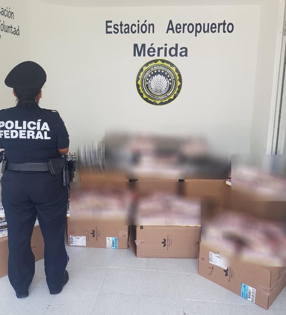2dd7e88af La Policía Federal aseguró un cargamento de cigarros piratas en el  aeropuerto de Mérida. Se decomisaron ...
