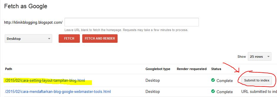 webmaster tool fetch as google
