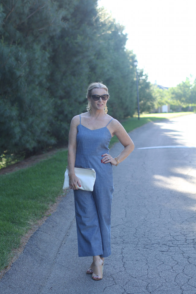 jumpsuit, clare v white clutch