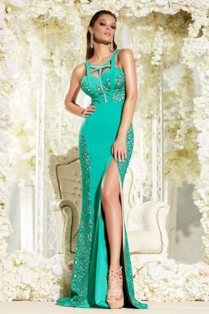 Rochie lunga de seara verde in stil sirena cu rapatura pe picior