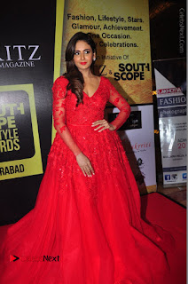 Actress Model Parul Yadav Stills in Red Long Dress at South Scope Lifestyle Awards 2016 Red Carpet  0092.JPG
