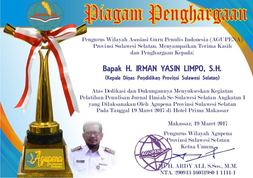 Penghargaan untuk Kadisdik Prov. SulSel