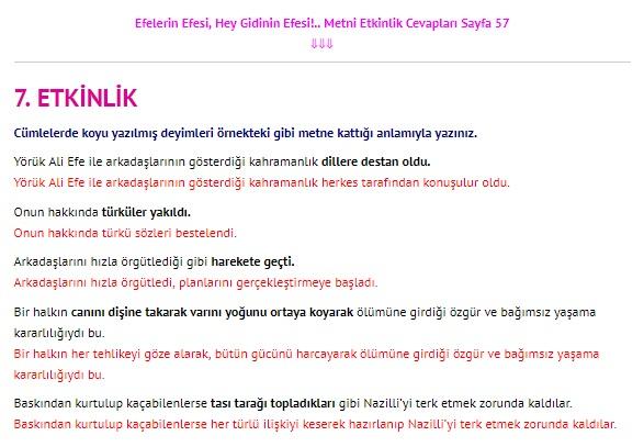Efelerin Efesi Hey Gidinin Efesi Metni Cevapları 4. Sınıf Türkçe Sayfa 57