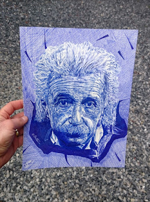 Albert Einstein - sketch drawing by ben heine