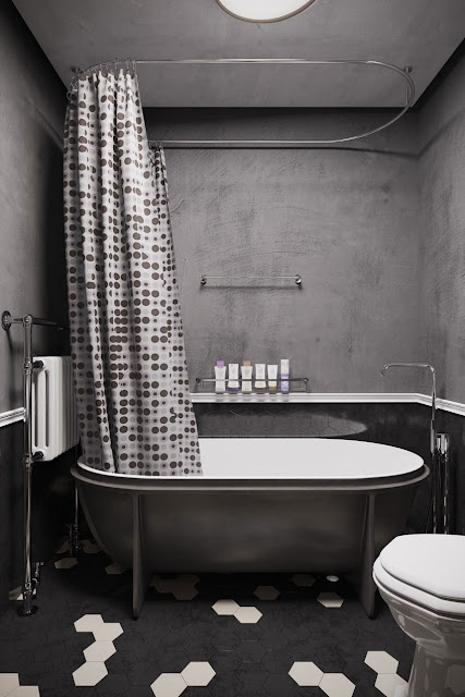 Black and white bath room design