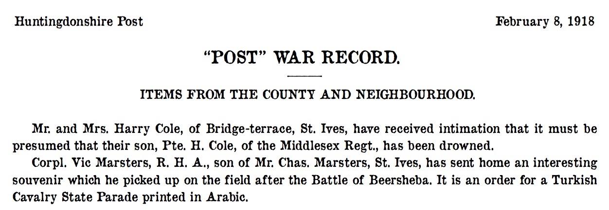 St Ives 8 February 1918