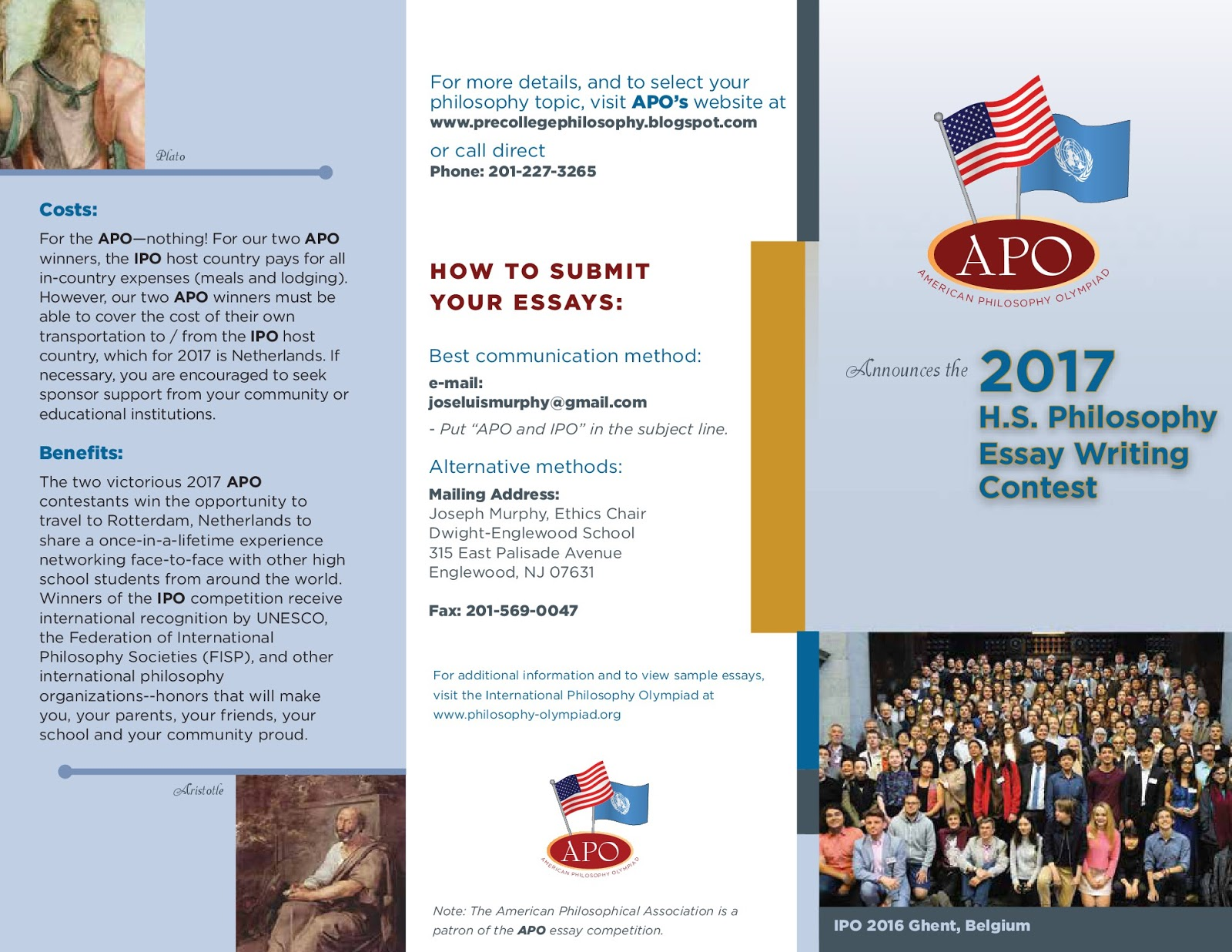 american pre college philosophy ap cp apo brochure and  apo 2017 brochure and essay topics