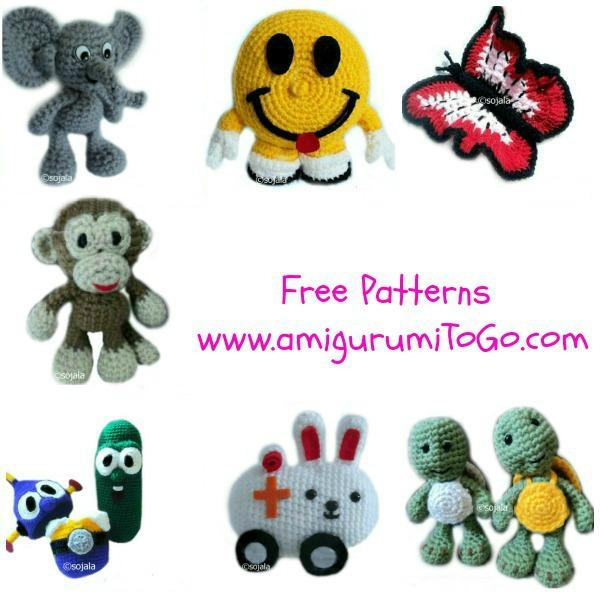 crochet monkey, elephant, turtle, smiley face