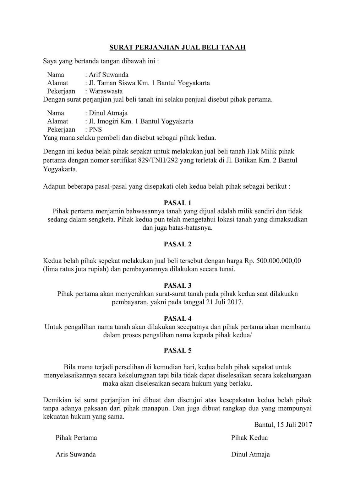 Contoh Surat Perjanjian Jual Beli Rumah Tunai