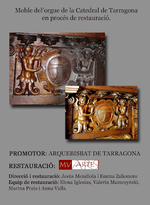 Trabajos de restauración de la caja del órgano de la Catedral de tarragona