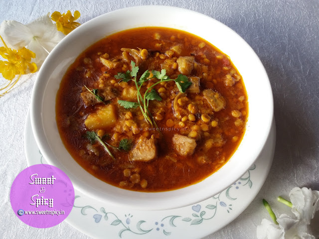 Panasa Buta Dali Tarkari (Raw jackfruit and split chickpeas curry)