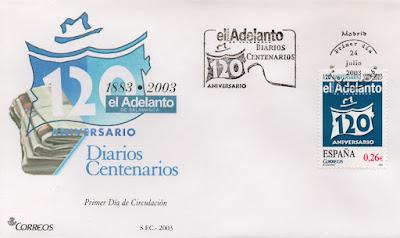 Sobre PDC del sello del 2003 dedicado al diario centenario El Adelanto de Salamanca