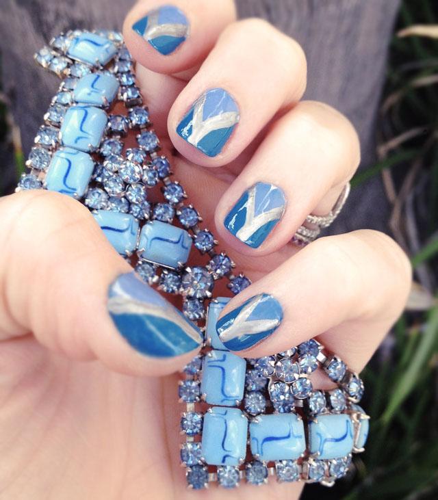 blue nails, nail art tutorial