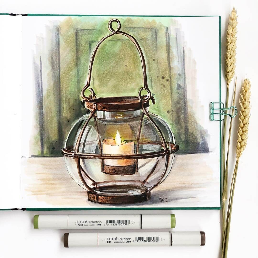 06-Metal-Glass-Lantern-Irina-Shelmenko-Ирина-Шельменко-Travel-Diary-Sketches-and-Moleskine-Drawings-www-designstack-co