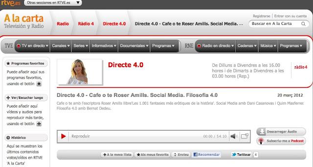 Entrevista a Roser amills a Directe 4.0 per Xantal llavina a Ràdio 4