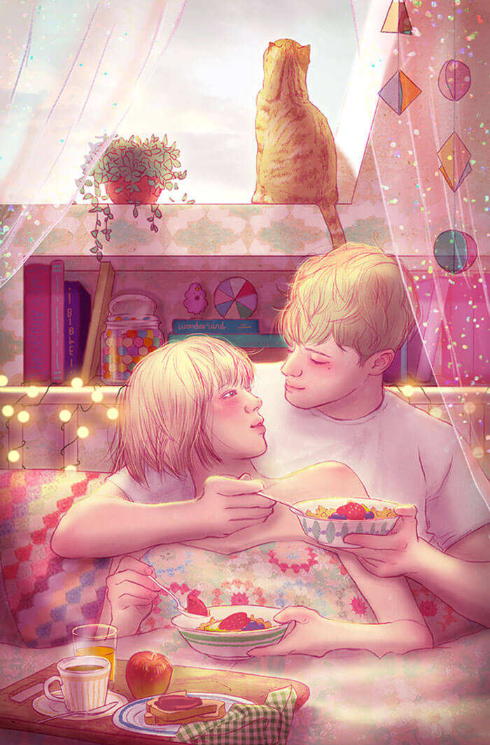 22 Beautiful Illustrations That Prove The Magic Of Love - Having Breakfast Together